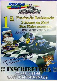 3 Horas de Resistencia Racing Kart Maspalomas. 11 de Septiembre 2010. 21:00 horas.